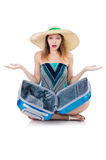 Woman with suitacases Stock Photos