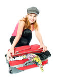 Woman with a suitcase. Royalty Free Stock Images