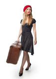 A woman with a suitcase Royalty Free Stock Photos
