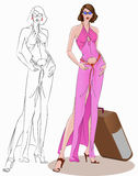 Woman with suitcase. Model standing with suitcase beside her, with outline style Royalty Free Stock Images