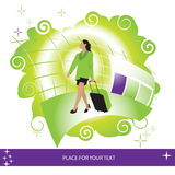 Woman, suitcase, airport Royalty Free Stock Images