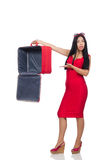 The woman with suitcase broken into Stock Photo
