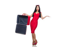 The woman with suitcase broken into Stock Photos
