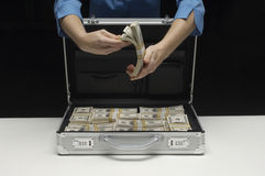 Woman With Suitcase And Dollars Royalty Free Stock Image