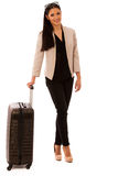 Woman with suitcase going on a business trip. Royalty Free Stock Image