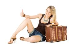 Woman suitcase hitchhiking Stock Photos