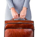 Woman and suitcase Stock Photo