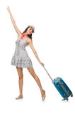 Woman with suitcase isolated Stock Photos