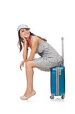 Woman with suitcase isolated Stock Image