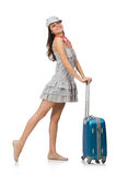 Woman with suitcase isolated on white Royalty Free Stock Photo