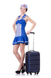 Woman with suitcase isolated on white Royalty Free Stock Image