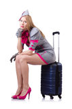 Woman with suitcase isolated on white Stock Photos