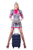 Woman with suitcase Stock Images