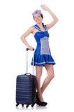 Woman with suitcase isolated on white Stock Image