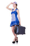 Woman with suitcase isolated on white Royalty Free Stock Photography