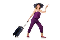 The woman with suitcase isolated on white Stock Photo