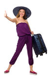 Woman with suitcase isolated on white Stock Photography