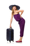 The woman with suitcase isolated on white Stock Images