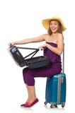 The woman with suitcase isolated on white Stock Image