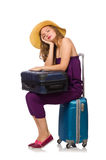 The woman with suitcase isolated on white Stock Photography