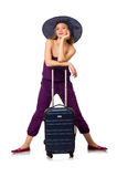 The woman with suitcase isolated on white Royalty Free Stock Photos