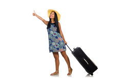 The woman with suitcase isolated on white. Woman with suitcase isolated on white Stock Image