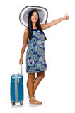 The woman with suitcase isolated on white. Woman with suitcase isolated on white Royalty Free Stock Photos
