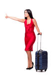 The woman with suitcase isolated on white background. Woman with suitcase isolated on white background Royalty Free Stock Image