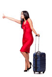 The woman with suitcase isolated on white background Stock Images