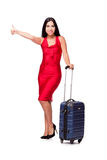 The woman with suitcase isolated on white background. Woman with suitcase isolated on white background Royalty Free Stock Images