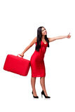 The woman with suitcase isolated on white background. Woman with suitcase isolated on white background Royalty Free Stock Photography