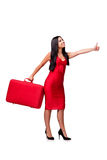 The woman with suitcase isolated on white background. Woman with suitcase isolated on white background Royalty Free Stock Photos