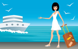 Woman with a suitcase on landing stage Stock Photos