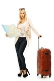 Woman with suitcase and map Royalty Free Stock Photo