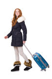 Woman with suitcase. Preparing for winter vacation Royalty Free Stock Photo