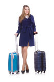 Woman with suitcase Royalty Free Stock Photography