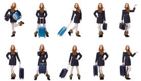 The woman with suitcase preparing for winter vacation Stock Images