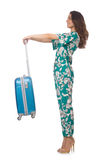 Woman with suitcase ready Royalty Free Stock Photo