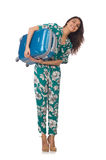 Woman with suitcase ready Stock Photography