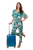 Woman with suitcase ready Royalty Free Stock Images