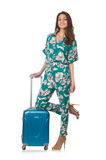 Woman with suitcase ready Royalty Free Stock Photos