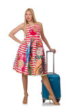 Woman with suitcase ready stock photo