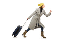 The woman with suitcase ready for winter vacation Royalty Free Stock Image