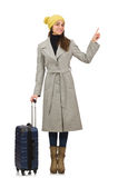 Woman with suitcase ready for winter vacation Royalty Free Stock Photos