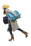The woman with suitcase ready for winter vacation Stock Images