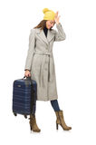 The woman with suitcase ready for winter vacation Royalty Free Stock Images
