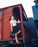 Woman with a suitcase standing on the train Stock Images