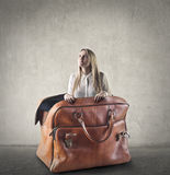 Woman in a suitcase Stock Photos
