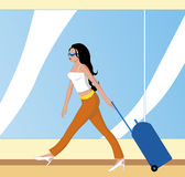 Woman with suitcase in transporting terminal. Vector Woman with suitcase in transporting terminal Stock Illustration