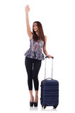 Woman with suitcase in travel concept isolated Stock Photos